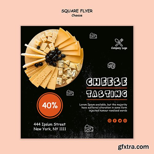 Cheese tasting event square flyer