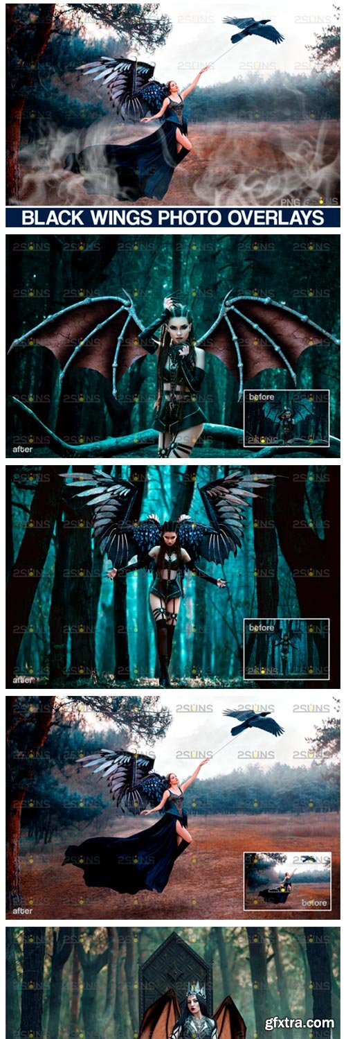 Realistic Black Angel Wings Photoshop 4181434