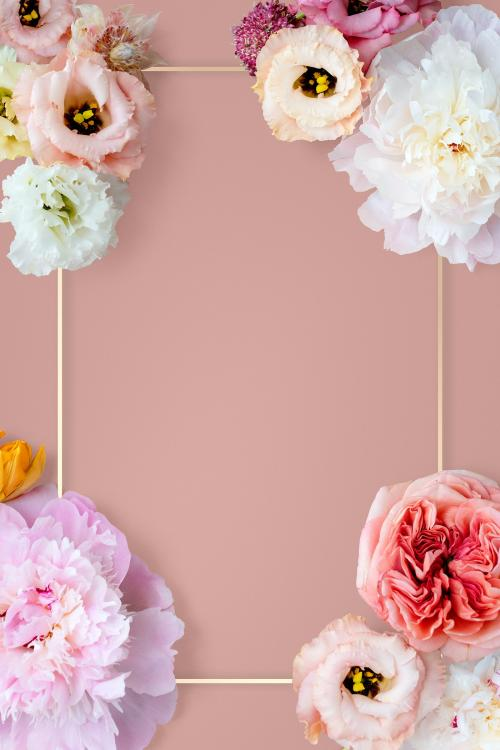 Various flowers with gold frame on pink background mockup - 1212434