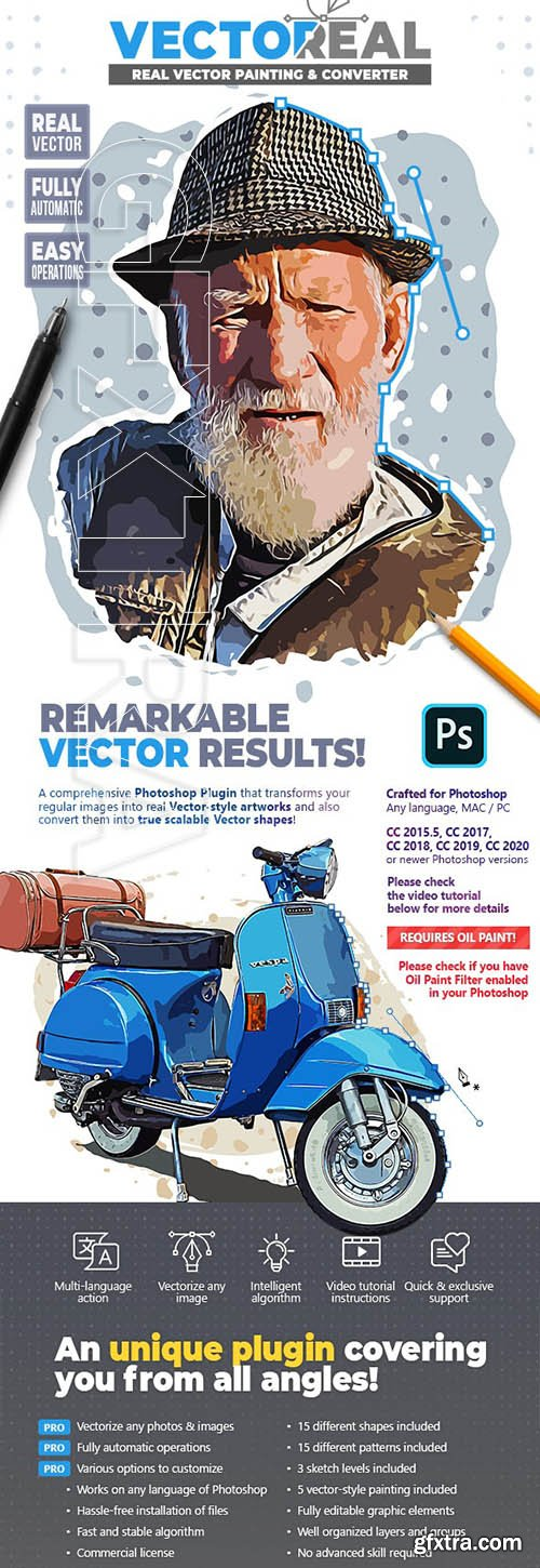 GraphicRiver - Vectoreal - Real Vector Painting & Converter Photoshop Plugin 26621382