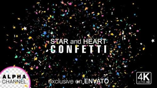 Videohive - Star And Heart Shape Birthday Celebration Confetti