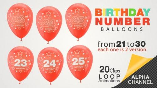 Videohive - Birthday Celebrations - Balloons With Birthday Numbers
