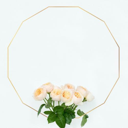 Golden floral dodecagon frame design - 1212819