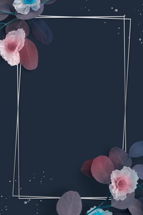 Blank rectangular floral frame design - 1212854