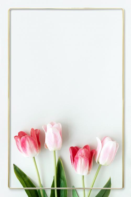 Golden blooming tulip frame design - 1212864