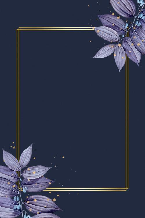 Golden rectangle frame with leaves illustration - 1200145
