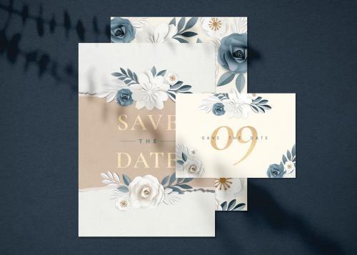 Paper craft flower wedding invitation card illustration template set - 1201281