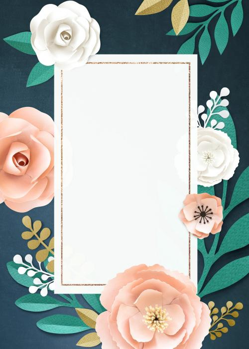 Rectangle paper craft flower frame template illustration - 1201292