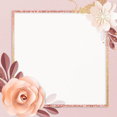Square paper craft flower frame template illustration - 1201307