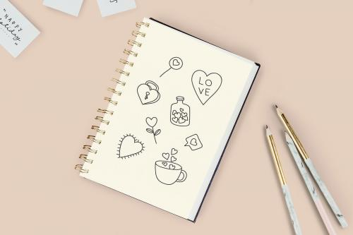 Hand drawn love and valentine's day doodle vector collection - 936389