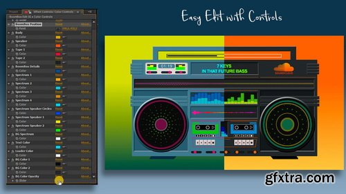 Videohive - Audio React Spectrum Visualizer with Boombox, Cassette Tape, Vinyl Plate and Vinyl Player Equalizer - 24651035