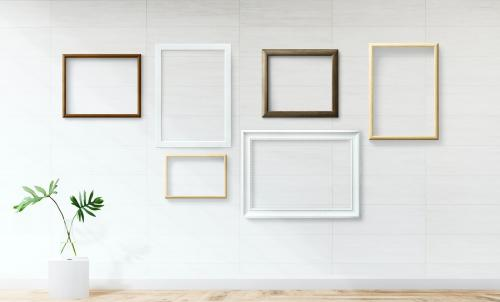 Frame mockups on a white wall - 586043
