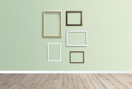 Frame mockups against a green wall - 586121