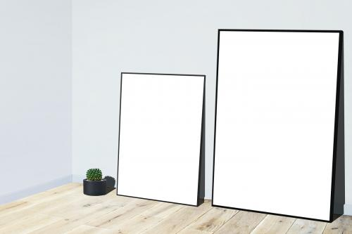 Frame mockups against a gray wall - 586159
