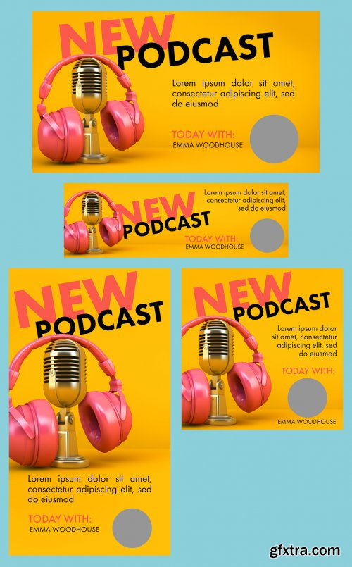 Podcast Social Media Layout Kit Witn Microphone and Headset Illustrations 344611742