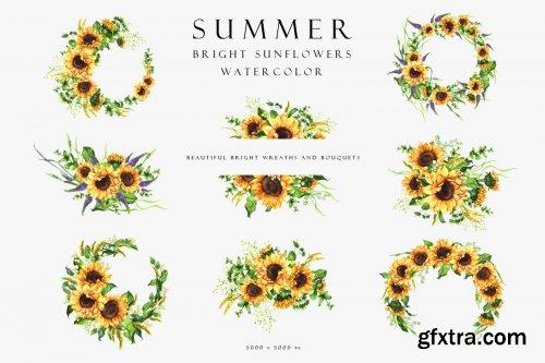 Set of summer bright sunflowers