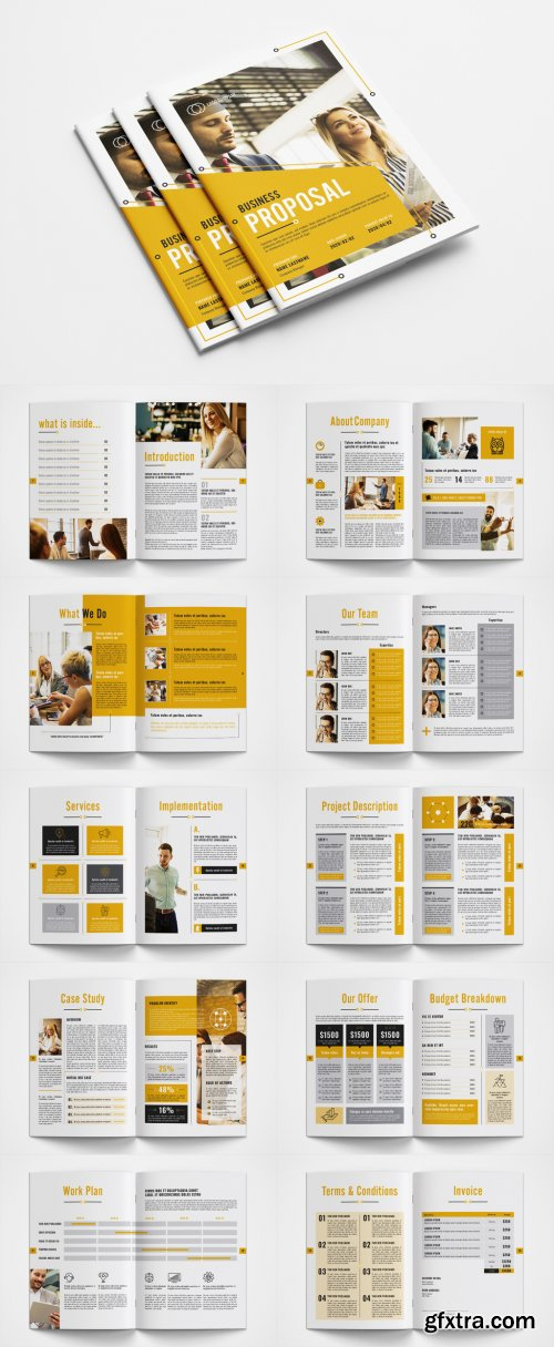 Business Proposal Layout with Orange Accents 351014015
