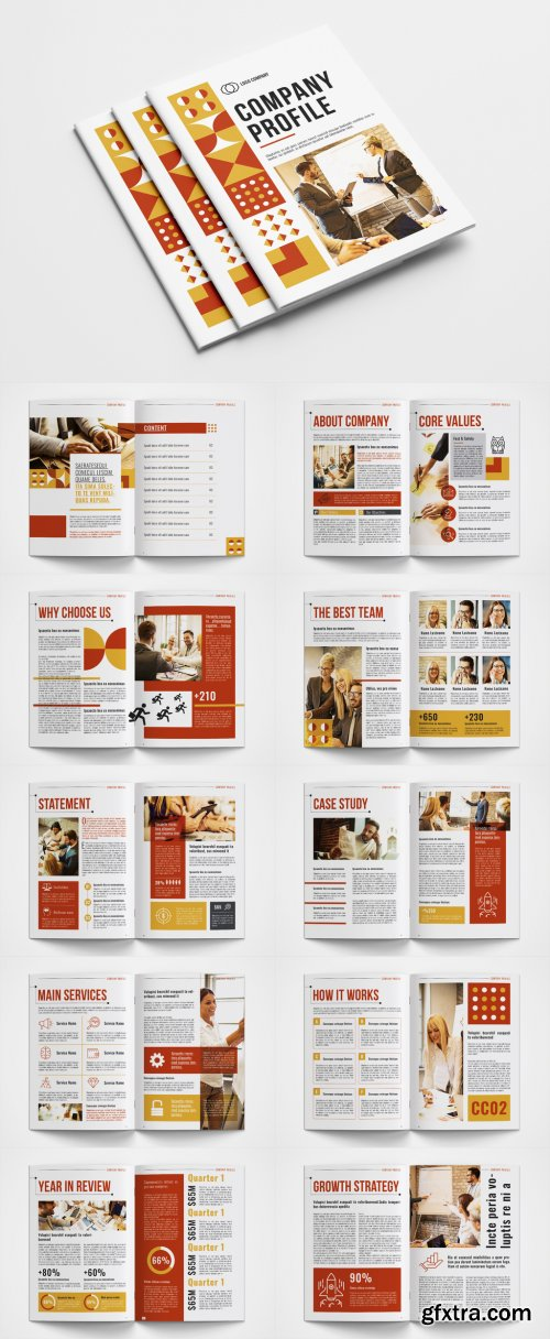 Company Profile Layout with Red and Yellow Accents 351013510
