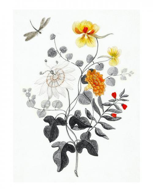 Still Life of flowers vintage illustration wall art print and poster design remix from original artwork. - 2266836