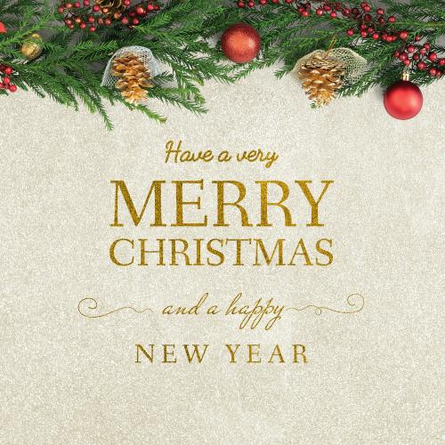 Merry Christmas and Happy New Year greeting card mockup - 520038