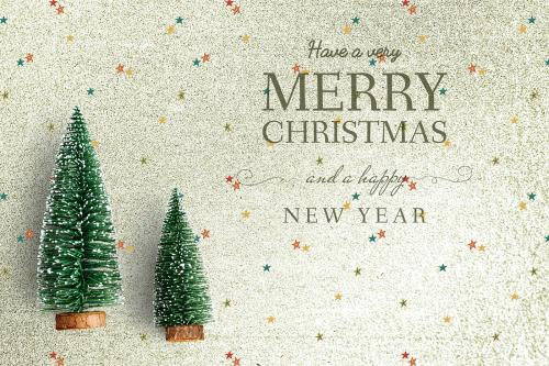 Merry Christmas and Happy New Year greeting card mockup - 520039