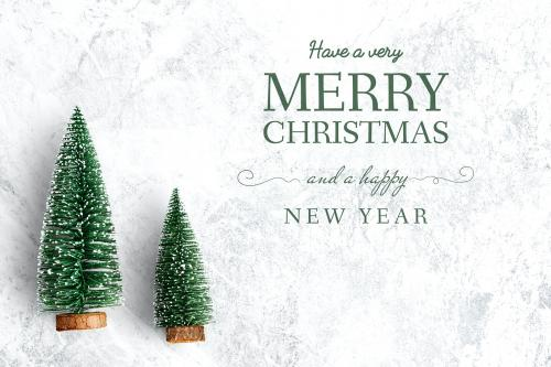 Merry Christmas and Happy New Year greeting card mockup - 520071