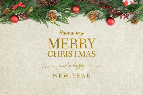 Merry Christmas and Happy New Year greeting card mockup - 520103