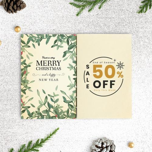 Merry Christmas and Happy New Year greeting card mockup - 520104