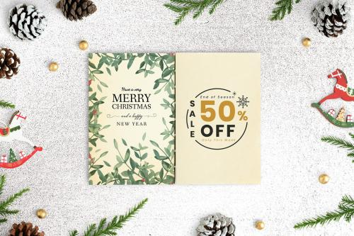 Merry Christmas and Happy New Year greeting card mockup - 520209