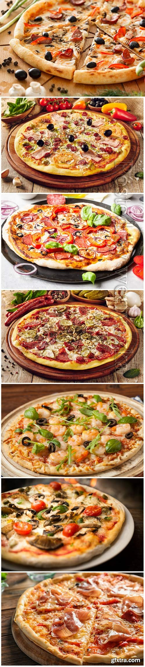 Delicious pizza with different products