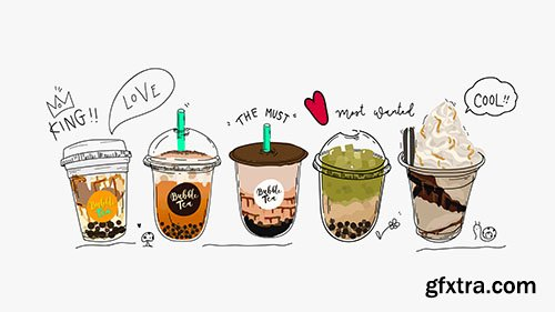 Collection of bubble tea, pearl milk tea and coffees