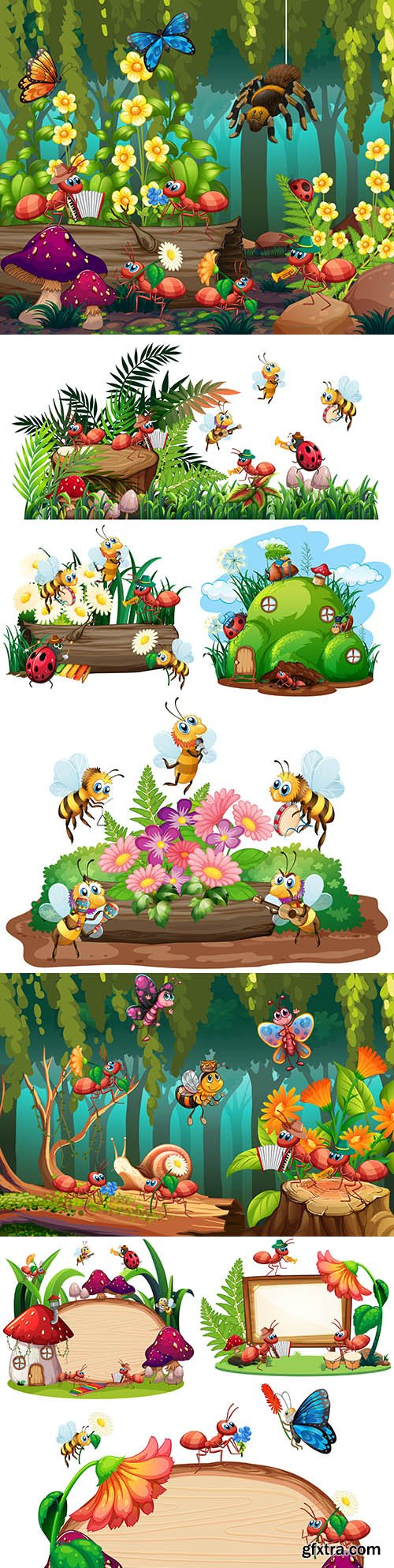 Fabulous forest landscape with cartoon insects and animals