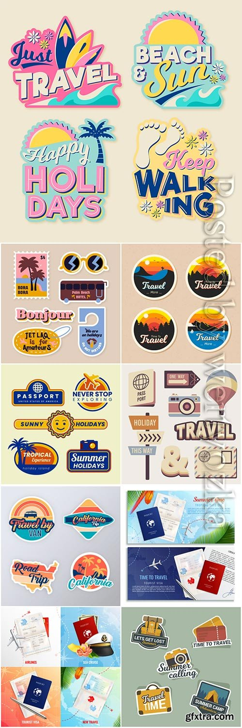 Travel sticker vector collection illustration