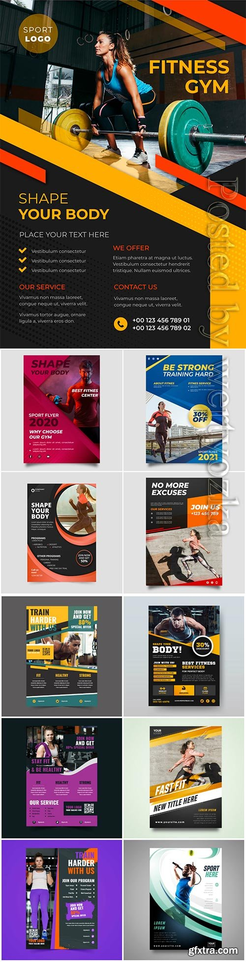 Sport flyer vector collection background