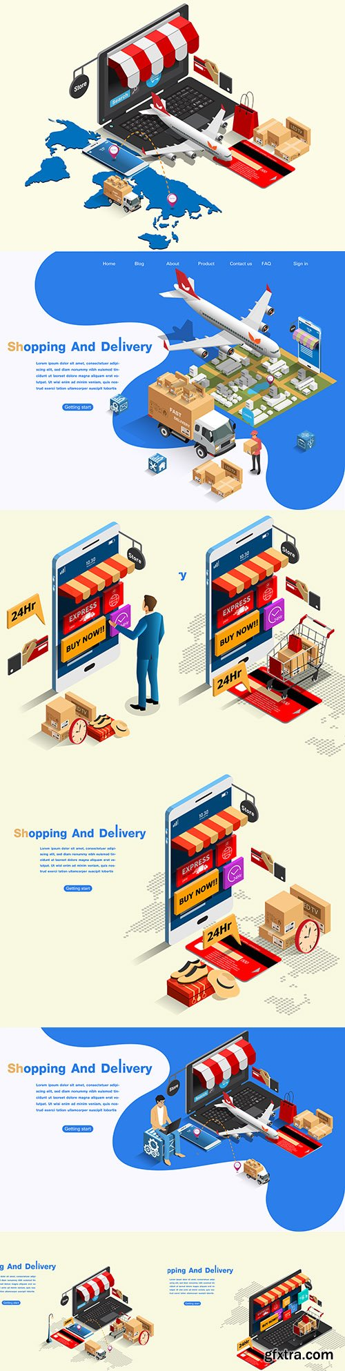 Shopping and shipping online isometric illustration