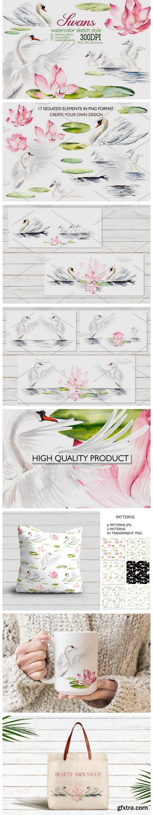 Watercolor White Swans with Pink Lilies 4325866