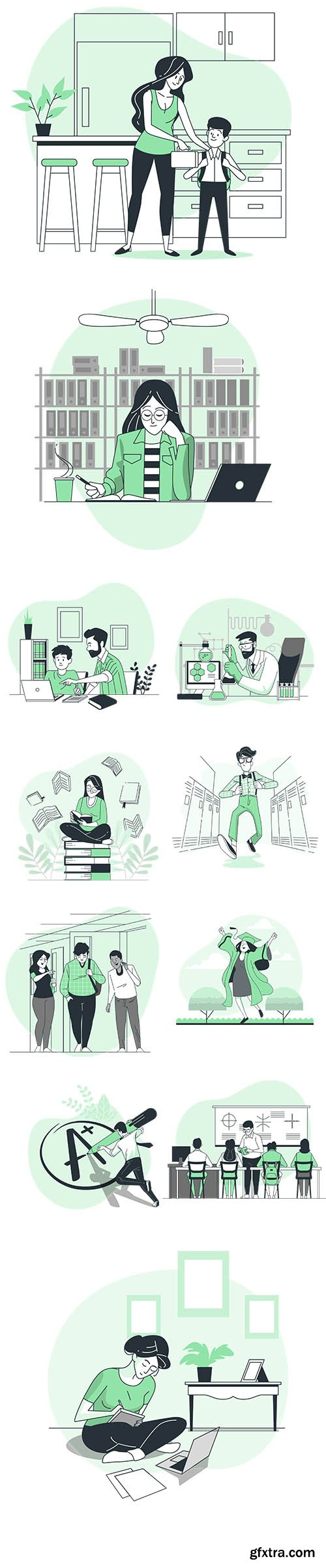 Vector People Live Situation Illustrations Education Concept Vol 8