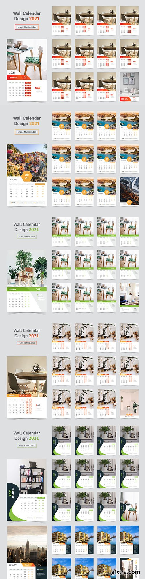 Wall calendar design for 2021 with photo