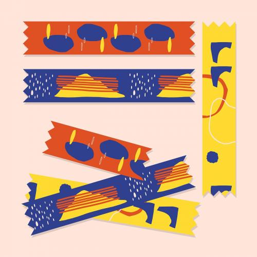Colorful washi tape collection vector - 2053373