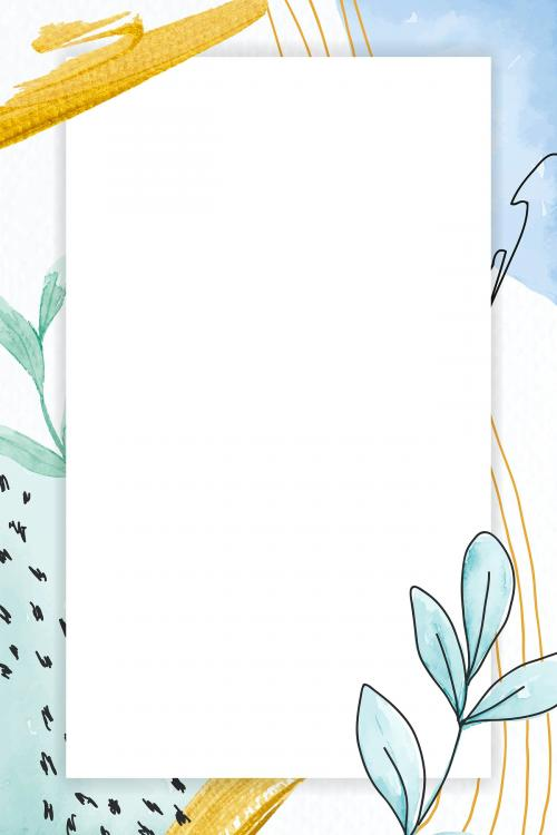 Rectangle frame on green floral background vector - 2090499