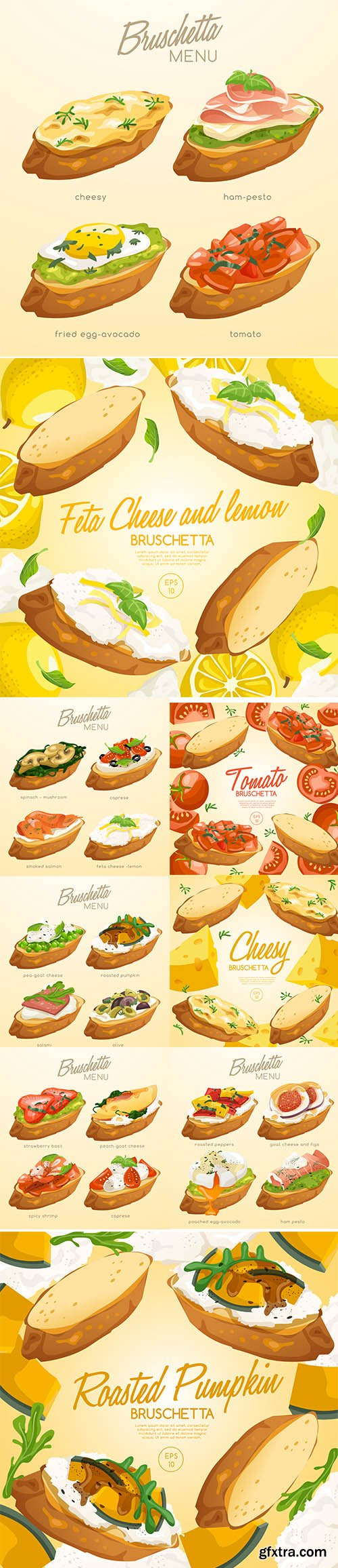 Set of Bruschetta Delicious Italian Appetizer