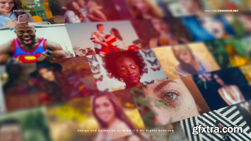 Videohive Mosaic Photo Wall Vlog Logo Reveal 25423444