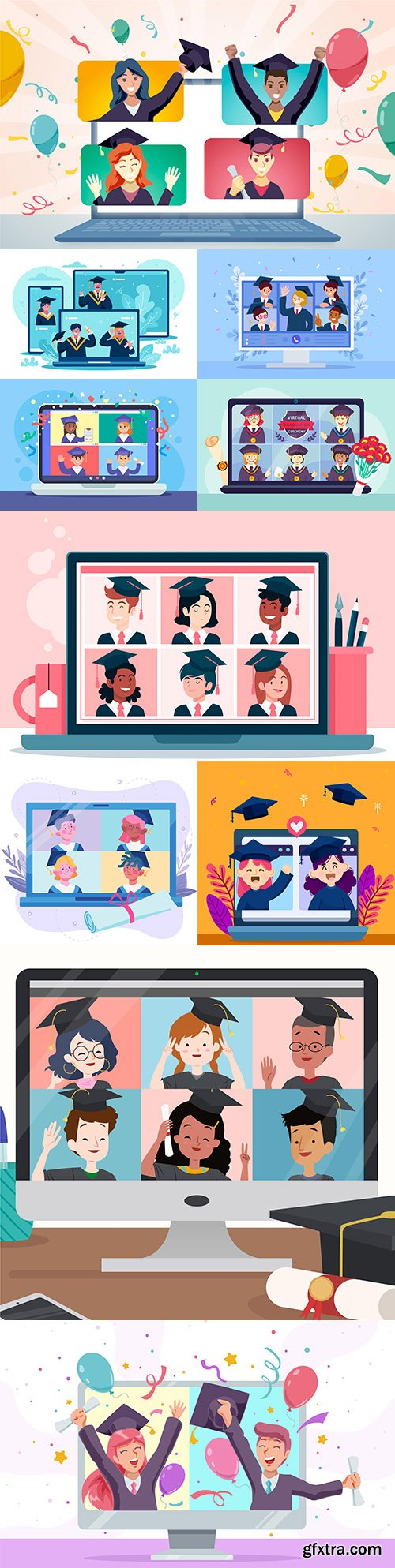Virtual graduation award ceremony concept illustrations