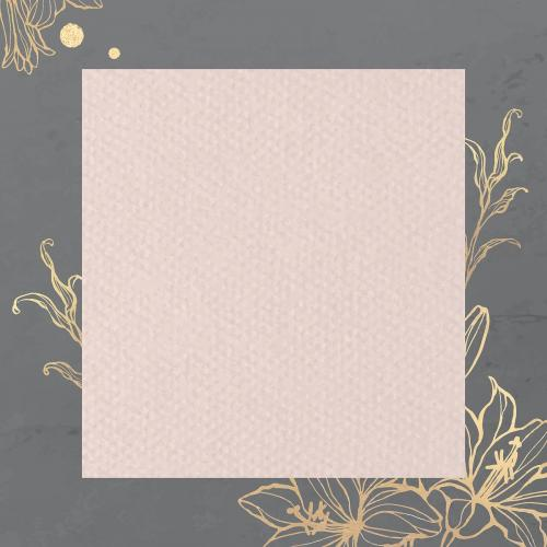 Rectangle pink paper on gold floral background vector - 2019748