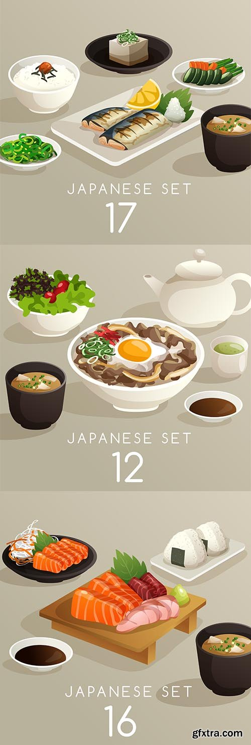 Japanese Set of Food