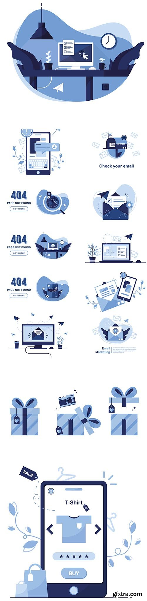 404 Error Page Found and Email Marketing Message Concept