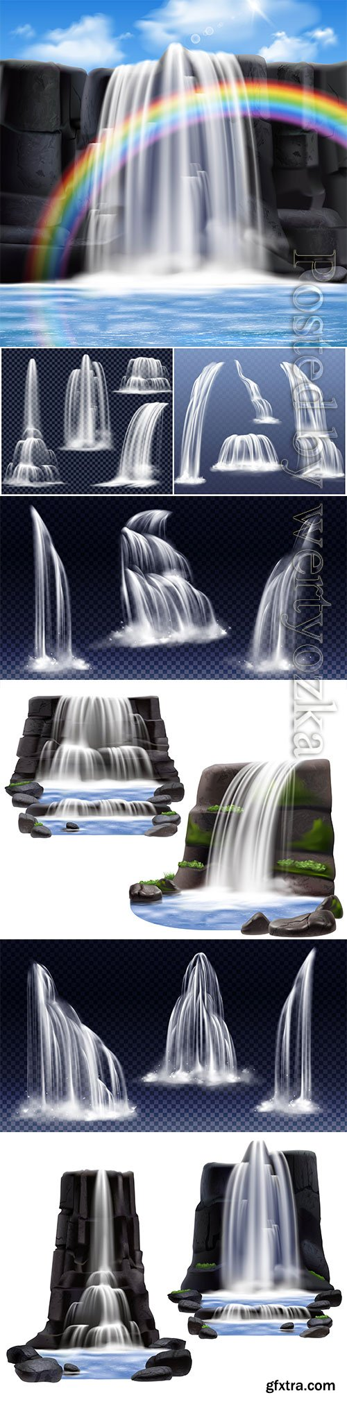Waterfalls realistic compositions vector design