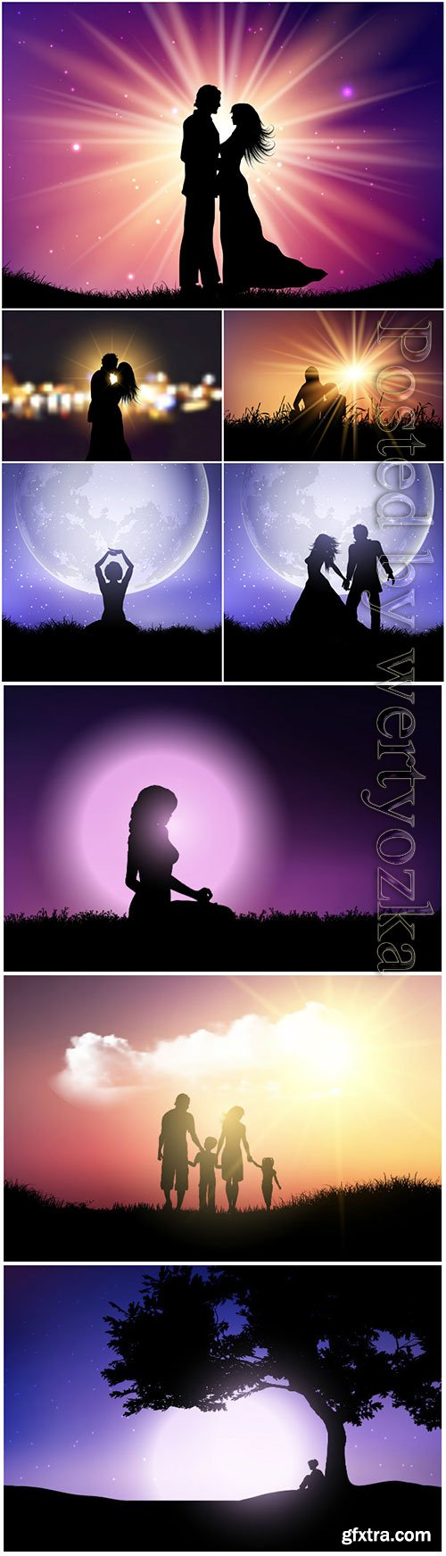 Silhouettes of people on a background of the night sky