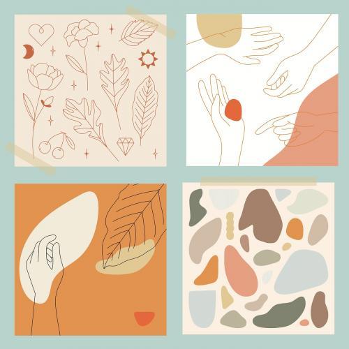 Feminine Line Art collection vector - 2044519