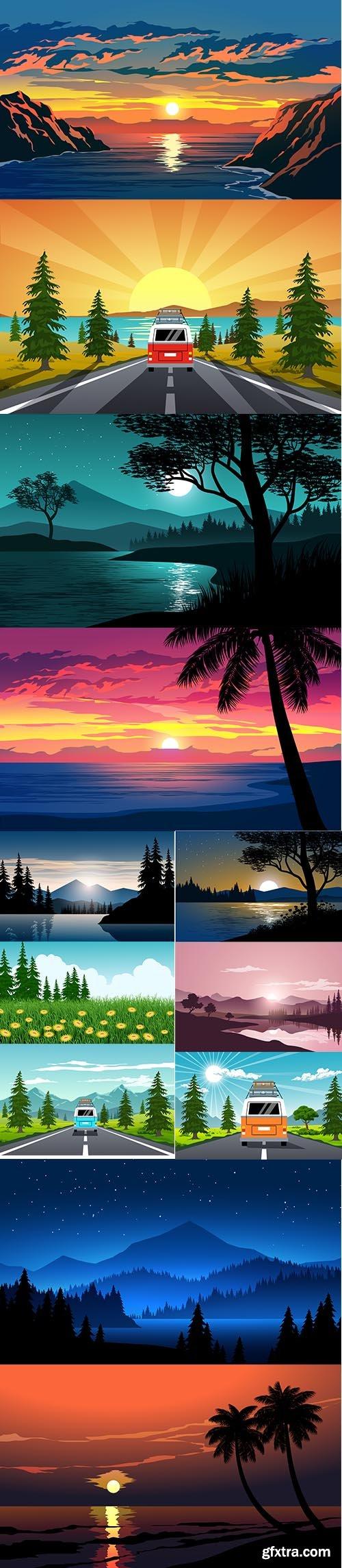 Beautiful Nature Background Set